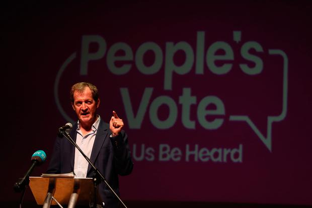 Alistair Campbell speaks at an anti-no deal Brexit rally at Ulster Hall in Belfast. Photo: Liam McBurney/PA Wire