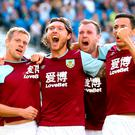 Burnley's Jeff Hendrick (second left) celebrates scoring his side's equaliser. Gareth Fuller/PA Wire