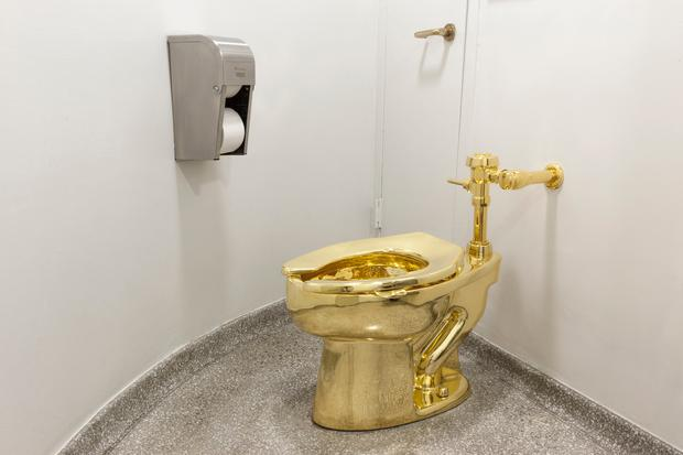 Undated handout photo issued by Blenheim Palace of a solid gold toilet, which has been stolen from Blenheim Palace, the birthplace of Winston Churchill. Photo: Jacopo Zotti (Guggenheim Museum 2016)/PA Wire