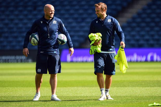 Head coach Gregor Townsend and coach Mike Blair in a training session at Murrayfield. Photo: AFP/Getty Images
