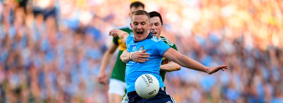 Ciarán Kilkenny of Dublin in action against Paul Murphy of Kerry during the GAA Football All-Ireland Senior Championship Final Replay match between Dublin and Kerry at Croke Park in Dublin. Photo by Eóin Noonan/Sportsfile