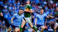 Eoin Murchan of Dublin celebrates after scoring his side's first goal during the GAA Football All-Ireland Senior Championship Final Replay match between Dublin and Kerry at Croke Park in Dublin. Photo by David Fitzgerald/Sportsfile