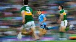Eoin Murchan of Dublin breaks through the Kerry defence to score his side's first goal during the GAA Football All-Ireland Senior Championship Final Replay match between Dublin and Kerry at Croke Park in Dublin. Photo by Ramsey Cardy/Sportsfile