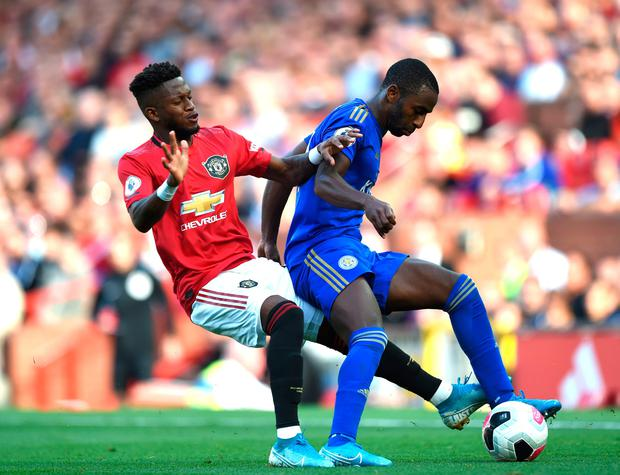 Ricardo Pereira of Leicester City is challenged by Manchester United's Fred. Photo: Gary Prior/Getty Images