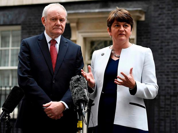 Arlene Foster and Martin McGuinness pictured at 10 Downing Street in October 2016. Photo: Dylan Martinez/Reuters