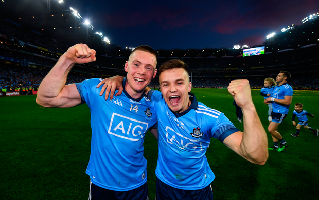 Con O'Callaghan, left, and Eoin Murchan of Dublin celebrate following the All-Ireland SFC final replay at Croke Park in Dublin. Photo: David Fitzgerald/Sportsfile