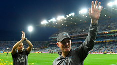 Dublin manager Jim Gavin acknowledges the cheers of the supporters after watching his side win a fifth successive All-Ireland title. Photo: Piaras Ó Mídheach