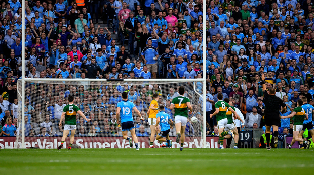 Dublin's Eoin Murchan puts away the only goal of the match. Photo: Ray McManus/Sportsfile