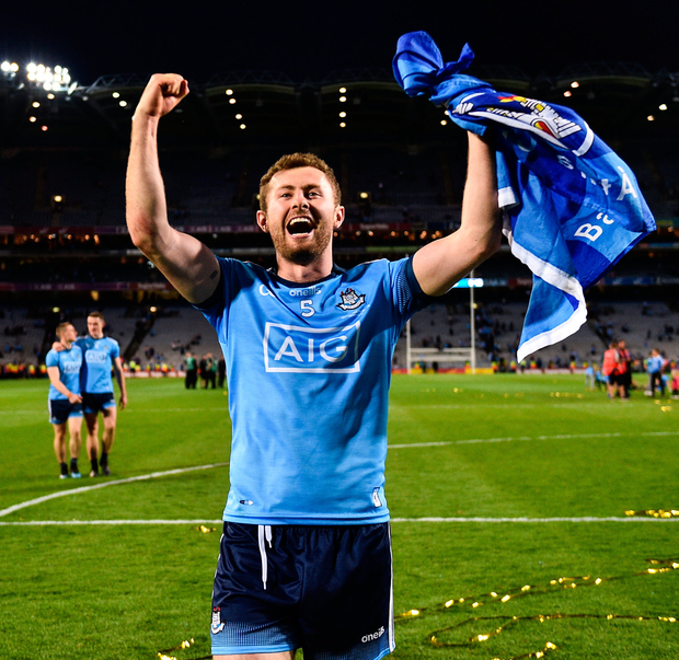 Jack McCaffrey celebrates on the Croke Park pitch after Dublin successfully completed the 'Drive for Five' last night. Photo: Sam Barnes