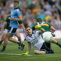 Dublin goalkeeper Stephen Cluxton pulls off a save during last night's match. Photo: Kyran O'Brien
