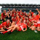 15 September 2019; Louth players celebrate following the TG4 All-Ireland Ladies Football Junior Championship Final match between Fermanagh and Louth at Croke Park in Dublin. Photo by Stephen McCarthy/Sportsfile