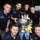 Dublin footballer's Con O'Callaghan, Cian O'Sullivan, Brian Howard, Robert Mc Daid and in front Jack McCaffrey and Eoin Murchan with patient Mary Rose O'Connell (12) from Dungarvin Waterford who recently had spinal surgery at Childrens Health Ireland at Crumlin Hospital where Sam was brought in to visit some of the patients along with players. Pic Steve Humphreys 15th September 2019