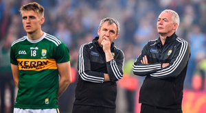 Kerry manager Peter Keane, centre, alongside selector James Foley and Killian Spillane following the All-Ireland SFC final replay defeat to Dublin at Croke Park on Saturday evening. Photo: David Fitzgerald/Sportsfile