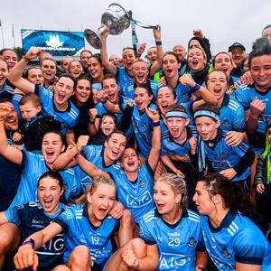 15 September 2019; Dublin players celebrate with the Brendan Martin Cup following the TG4 All-Ireland Ladies Football Senior Championship Final match between Dublin and Galway at Croke Park in Dublin. Photo by Stephen McCarthy/Sportsfile
