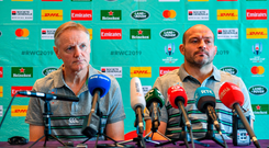 Joe Schmidt and Rory Best address the media at yesterday's press conference. Photo: Brendan Moran/Sportsfile
