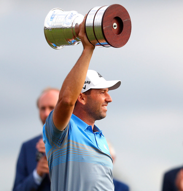 Sergio Garcia lifts the trophy following his victory during Day Four of the KLM Open. Photo: Dean Mouhtaropoulos/Getty Images