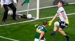 Stephen Cluxton makes a crucial save in the second half from Stephen O'Brien. Photo: Sportsfile