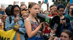 Greta Thunberg leads a protest in New York last week. Photo: Sarah Silbiger/Getty Images