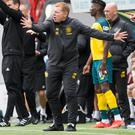Celtic's Neil Lennon instructs his players during Saturday's Scottish Premiership victory over Hamilton at New Douglas Park. Photo: Jeff Holmes/PA Wire