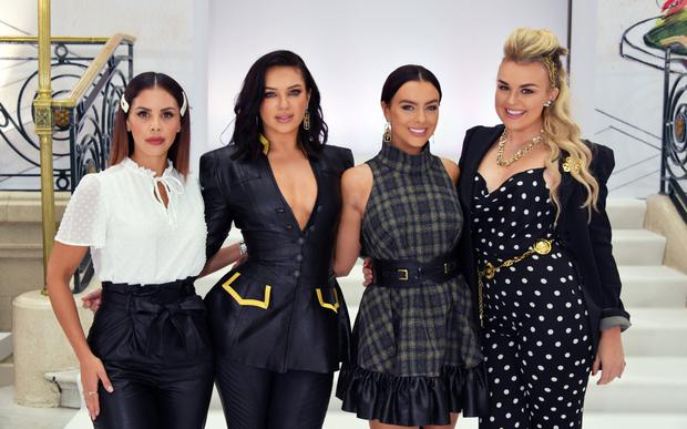 (L-R) Shanie Ryan, Alexandra Cane, Rosie Williams and Tallia Storm attend the Paul Costelloe front row during London Fashion Week September 2019 at The Waldorf Hilton Hotel on September 16, 2019 in London, England. (Photo by David M. Benett/Dave Benett/Getty Images)