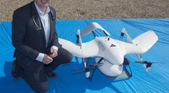 Professor Derek OKeefe, NUI Galway, with the worlds first diabetes drone. Photo:Andrew Downes, XPOSURE