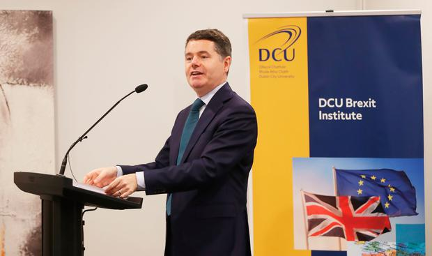 Minister for Finance Paschal Donohoe addressing the DCU Brexit Institute Photo credit: Niall Carson/PA Wire