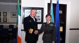 Brigadier General Maureen O'Brien being congratulated by the Chief of Staff of the Defence Forces, Vice Admiral Mark Mellett