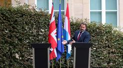 Luxembourg's Prime Minister Xavier Bettel gestures during a news conference after his meeting with British Prime Minister Boris Johnson REUTERS/Yves Herman