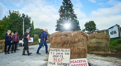 In for the long haul? Farmers protesting at Kepak Drumquin, Co Clare, said they were prepared to maintain pickets until Christmas if necessary