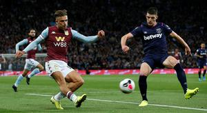 Aston Villa's Jack Grealish in action with West Ham United's Declan Rice during the Premier League clash at Villa Park, Birmingham. Photo: Reuters/Andrew Yates