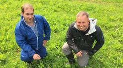 View from across the border: Co Down farmer Dale Orr (right) with farm advisor Andrew Thompson