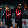 Bohemians' Andre Wright, right, is congratulated by team-mate Daniel Grant after scoring his side's first goal during the FAI Cup quarter-final win over Crumlin United at Richmond Park, Inchicore, Dublin. Photo: Seb Daly/Sportsfile