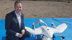 'The seagull has landed': Professor Derek O'Keeffe and the world's first diabetes drone Photo: Andrew Downes