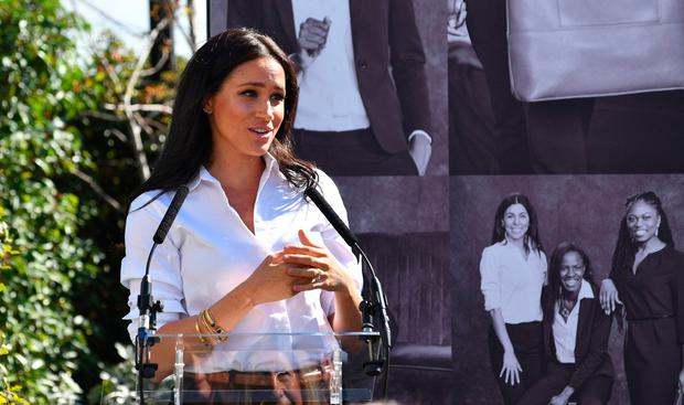 Effortless chic: Meghan at the launch of the Smart Set collection. Photo: PA