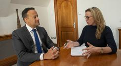 Rural issues: Taoiseach Leo Varadkar speaks to Margaret Donnelly. Photo: Doug O'Connor