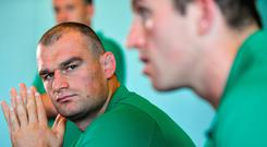 Brothers Rhys Ruddock, left, and assistant strength & conditioning coach Ciaran Ruddock, during an Ireland rugby press Conference at the Hotel New Otani Makuhari in Chiba, Japan. Photo by Brendan Moran/Sportsfile