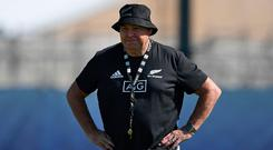New Zealand's head coach Steve Hansen watches a training session at the Tatsuminomori Seaside Park in Koto, Tokyo