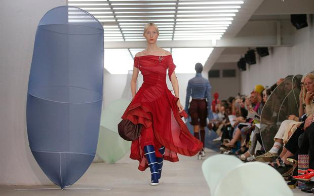 Models on the catwalk at the Richard Malone Spring/Summer 2020 London Fashion Week at the BFC Show Space, London