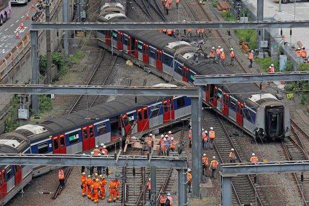 Train derails in Hong Kong during rush hour