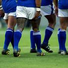 The tattooed legs of Samoa's Lome Fa'atau. Mandatory Credit:Action Images / Jason O'Brien/File Photo