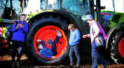 Maureen Holbrook with her mother Bea Flynn and her sons Aaron and Kieran from County Carlow at the National Ploughing Championships in Ballintrane, Fenagh, County Carlow. Photo: David Conachy