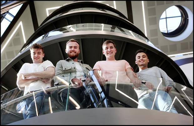 Brian O'Mahony, Brandon Dooley, Charlie Butler and Josh Stafford who have created the 'Bounce' App at Trinity New Business School. Pic Steve Humphreys