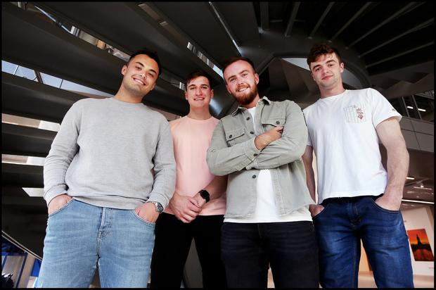 Josh Stafford, Charlie Butler, Brandon Dooley and Brian O'Mahony who have created the 'Bounce' App at Trinity New Business School. Pic Steve Humphreys
