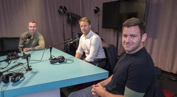 Will Slattery, Luke Fitzgerald and Fergus McFadden on the Left Wing Rugby Podcast in association with Aldi. Picture: Arthur Carron