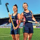 Emily Beatty (L) and Megan Frazer are pictured at yesterday's annoucement in Energia Park, Donnybrook, where the Irish hockey team will play Canada in their Olympic qualifier in November. Photo: Seb Daly/Sportsfile