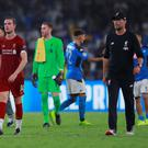 Fabinho, Jordan Henderson, Adrian and Liverpool manager Jurgen Klopp after the Champions League Group E defeat to Napoli. Photo: Reuters/Andrew Couldridge