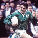 Ireland's Gordon Hamilton scores his famous try against Australia in the 1991 RWC quarter-final at Lansdowne Road. Photo: Darren Kidd/Press Eye