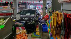 Carnage: The car crashed into the shop in Skerries, north Dublin. PHOTO: KATHY ARMSTRONG