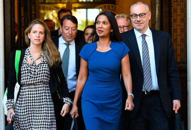 Battle: Remain activist Gina Miller at the Supreme Court where judges are considering legal challenges to Boris Johnson's decision to suspend parliament. Photo: Kirsty O'Connor/PA