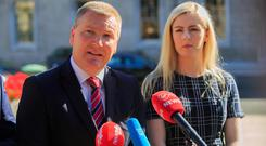 Worry: Fianna Fáil's Michael McGrath and Lisa Chambers. Photo: Gareth Chaney/Collins